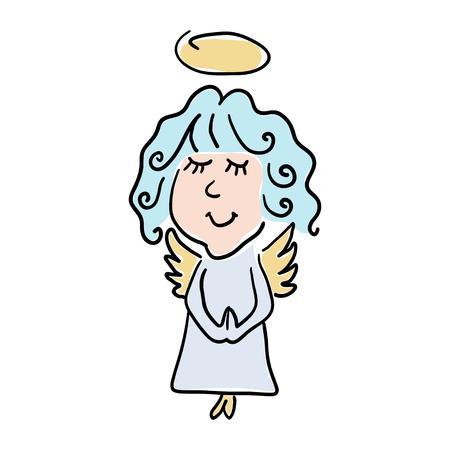 Vector ilustración en color de un pequeño ángel estilo de dibujos animados sobre un fondo blanco