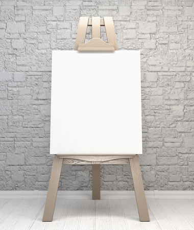 artist's canvas: Vintage retro wooden easel artists with blank canvas on a brick wall background. 3d illustration