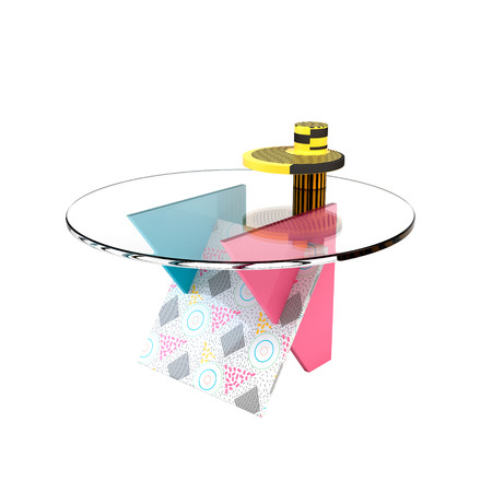 tabletop: Cute bright colorful table in the style of Memphis on a white background. Memphis table with glass tabletop. 3D illustration