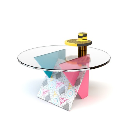 tabletop: Cute bright colorful table in the style of Memphis with shadow on white background. Memphis table with glass tabletop.  3D illustration Stock Photo