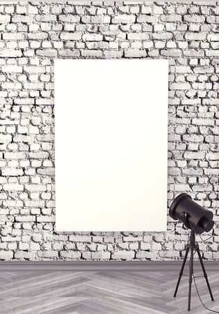 canva: Mocap interior gallery. Rough wall of white brick. Gray wooden parquet. Painting with a blank canva, illuminated by floodlight. 3d rendering. Stock Photo