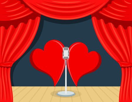 Abstract Cartoon Theater with red backstage, singing microphone and two hearts. The  concept of Valentines Day. Stock vector illustration