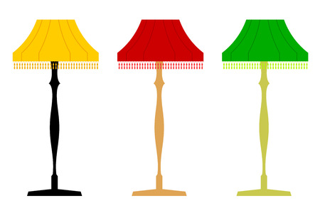 Set of color vector retro floor lamps. Electric light fixtures on a white background.  Stock vector illustration