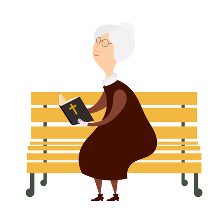 Venerable old woman on a park bench reading a bible. The symbol of old age and  religiosity. Stock vector illustration