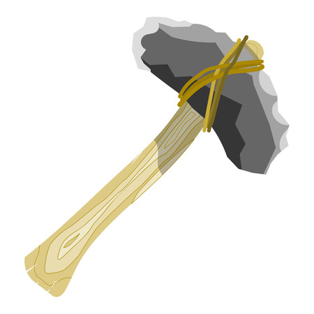 Primitive stone ax on a white background. Cartoon style. Vector illustration Illustration
