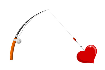 Vector image of abstract red heart with a fishing rod. The concept of love relationships.  Postcard Valentines Day. Stock vector illustration