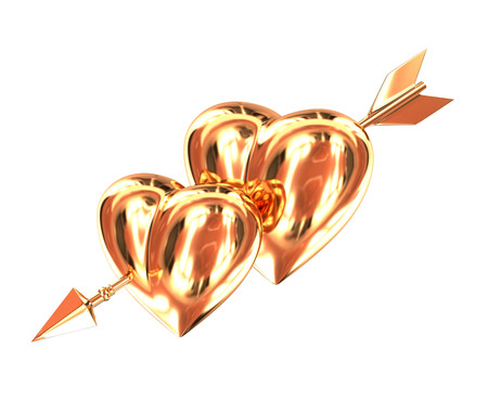 Two gold heart pierced by a golden arrow isolated on white background. Cupids arrow.  3d illustration.
