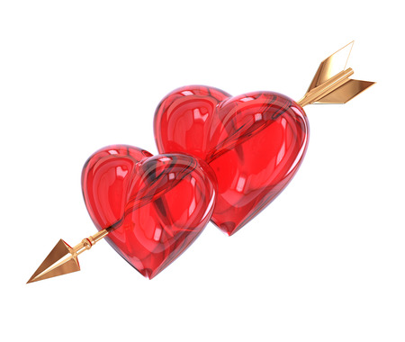 Two Red heart pierced by a golden arrow isolated on white background. Cupids arrow.  3d illustration.