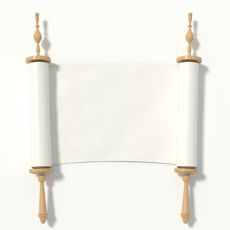 the scriptures: Scroll to the white paper on the wooden roller, isolated on white background. 3d rendering.