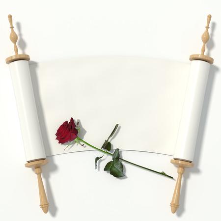 rulos: Desplácese hasta el libro blanco sobre rodillos de madera y una rosa roja, aislada sobre fondo blanco. Representación 3D.