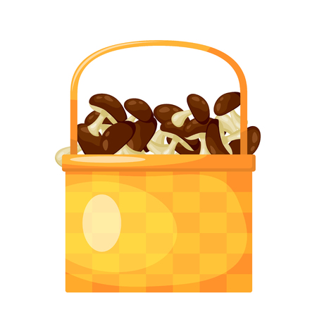 Abstract rural wicker basket with mushroom. Cartoon style. Vector illustration of a  simple basket with ripe mushroom