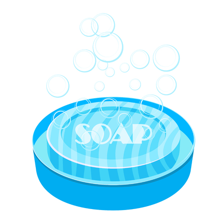Vector image of blue soap and soap dish on a white background. Cartoon color soap on a white background. Object of hygiene and body care Illustration