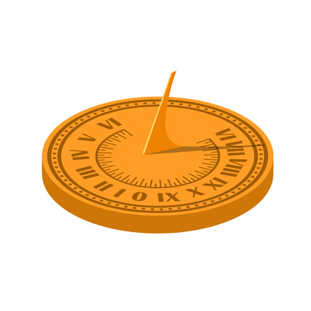 Color vector image of a sundial on a white background. Sundial in Flete Cartoon style. Stock vector illustration Illustration