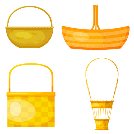 sleek: Set of abstract yellow woven baskets. Cartoon style. Sleek design. Wicker baskets.  Vector illustration