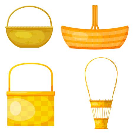 Set of abstract yellow woven baskets. Cartoon style. Sleek design. Wicker baskets.  Vector illustration