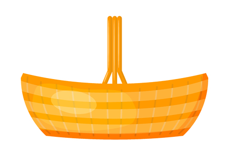 Vector image of a simple color baskets made of wicker. Cartoon style. Flat design basket on a white background. Stock vector illustration