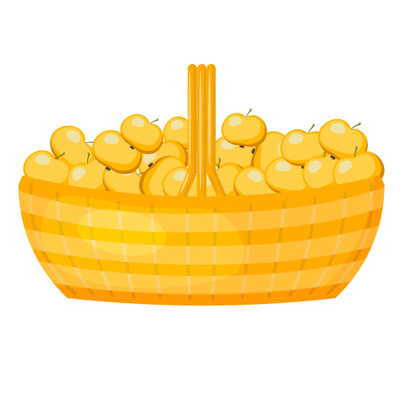 Abstract rural wicker basket with apples. Cartoon style. Vector illustration of a simple basket with ripe fruit Illustration