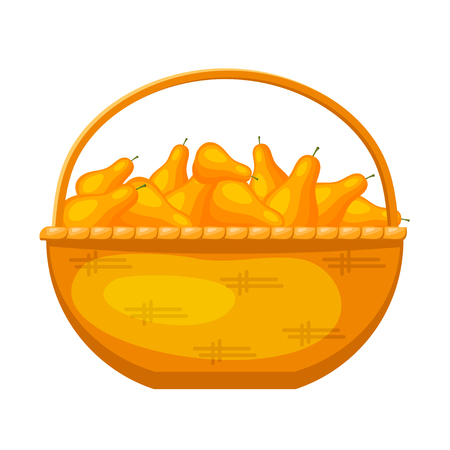 Abstract rural wicker basket with pears. Cartoon style. Vector illustration of a simple basket with ripe fruit Illustration