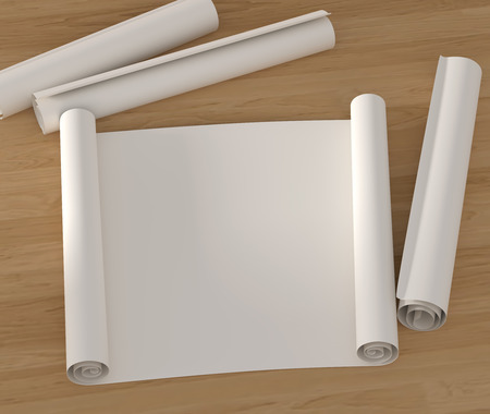 vellum: Set empty roll of drawing paper on a wooden surface. 3D illustration