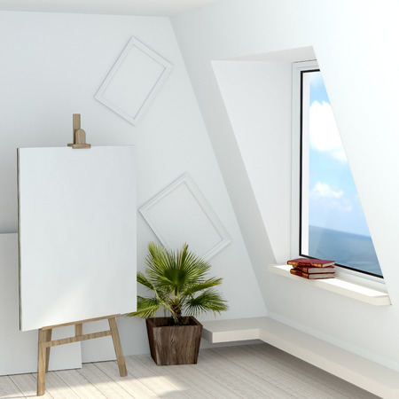 shakespeare: 3d illustration of a free artists studio with a window overlooking the sea. Attic artist with his easel, books of Shakespeare on the windowsill, a blank canvas and white empty frame on the wall. High-quality rendering Stock Photo