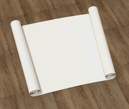Pure empty roll of drawing paper on a wooden surface. 3D illustration Stock Photo