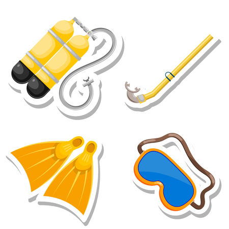 deep sea diver: Set items diver cut from paper. Vector accessories dayviga in Cartoon style on a white  background. Stock vector
