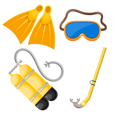 Vector set of abstract objects for diving. Mask, snorkel, scuba, fins. Cartoon diver subjects. Stock vector