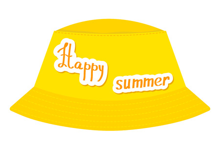 Yellow abstract panama hat with happy summeron a white background.