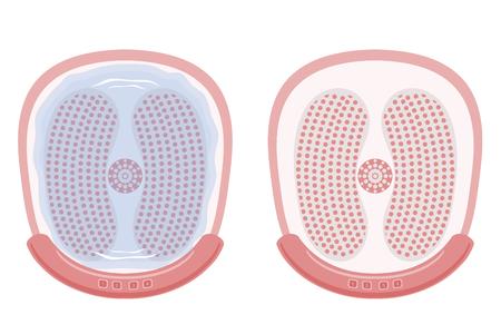 Illustrazione di un dispositivo per idromassaggio dei piedi, bagno di vibrazione per i piedi massaggio idromassaggio.