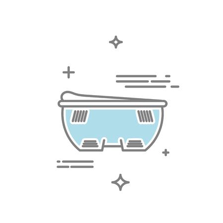 Linea illustrazione di stile di un bagno elettrico vibrante dispositivo di massaggio con acqua.