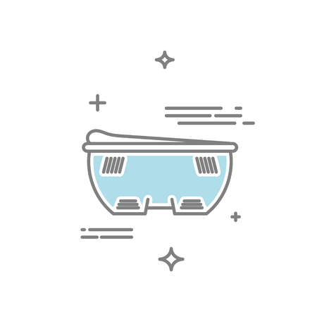 Line style illustration of a vibrating electric massage device bath with water. Illustration