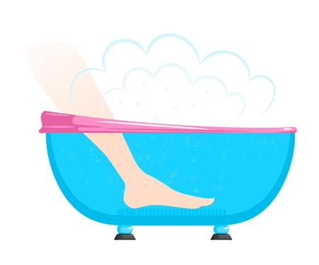 Illustrazione di un bagno caldo, gambe femminili in stile cartoon vasca idromassaggio.