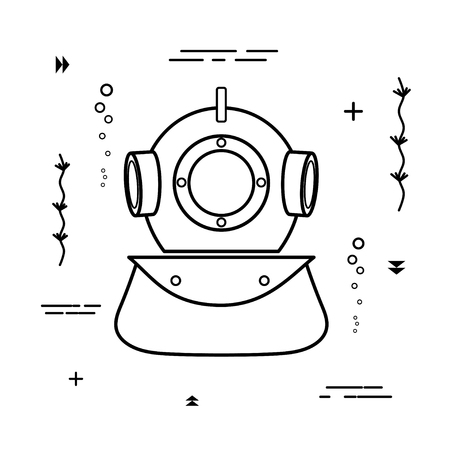 Simple black diving helmet icon on a white background. Vector illustration Illustration