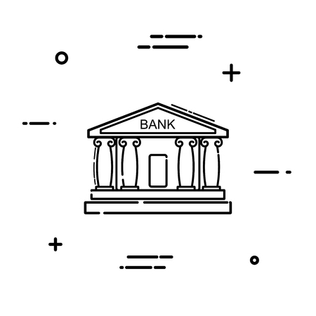 cash money: Linear bank icon on a white background. Simple line drawing of a bank building with  columns. Vector illustration Illustration