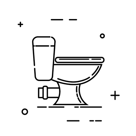 Abstract black bowl toilet icon on white background. Symbol of hygiene and cleanliness of the toilet. Vector illustration