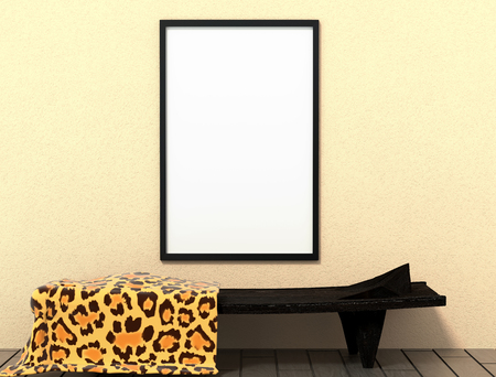living room wall: 3d illustration of african tribal ethnic bed. Mock Up Tribal interior