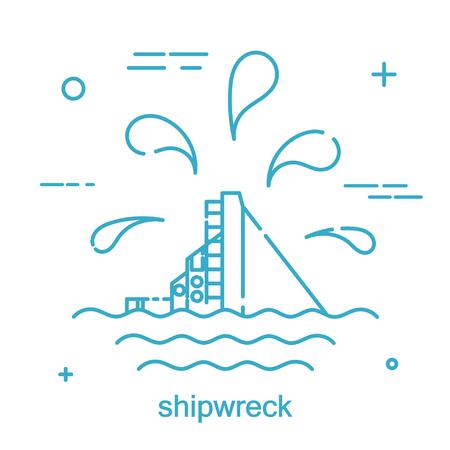 Desastre Nave náutica en un estilo lineal. Icono de línea Aislado en el fondo blanco. Ilustración vectorial Foto de archivo - 76502206