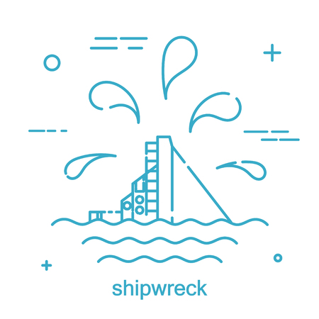 Disaster Nautical ship in a linear style. Line icon. Isolated on white background. Vector illustration. Illustration