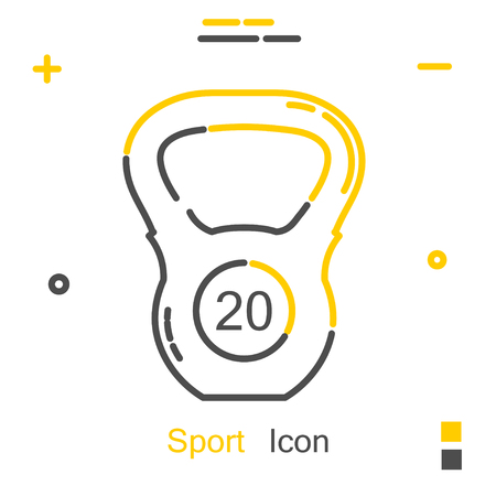 iron: Sports weight in a linear style. Line icon. Isolated on white background. Vector illustration.