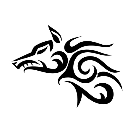 Vector tattoo of a wicked strong wolf on a white background. Angry beast. Stock illustration Ilustração