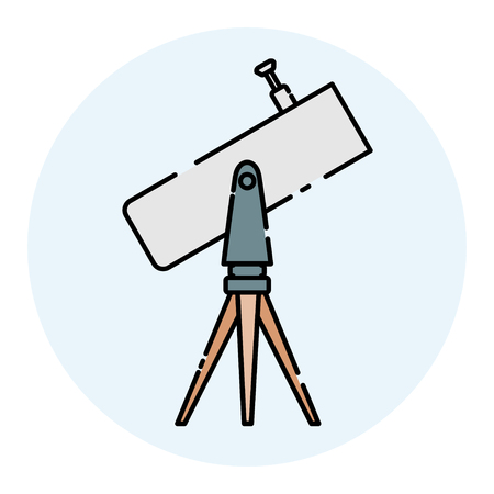 Color telescope on the tripod looks to the sky. Linear color icon. Isolated on white background. Vector illustration.