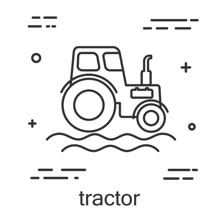 industrial machinery: Tractor in a linear style. Line icon isolated on white background. Vector illustration. Illustration