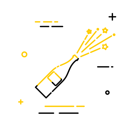 Flat linear icon of a bottle with a flying stopper. Linear style. Sign of joy and victory.  Vector illustration Illustration