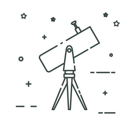 planetarium: Telescope on the tripod looks to the sky. Linear color icon. Isolated on white background. Vector illustration. Illustration