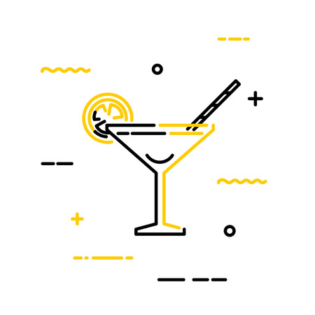 Black flat cocktail martini icon with lemon and straws on a white background. Vector  illustration. Linear style