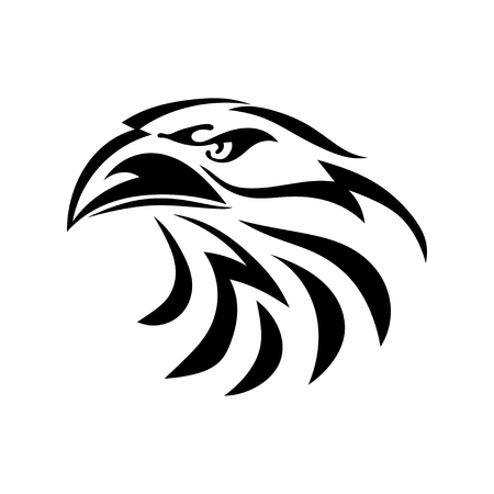 Dibujo gráfico negro de una cabeza de águila sobre un fondo blanco. Pájaro abstracto con un pico. Ilustración del vector