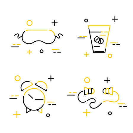 gym equipment: Set of art line of sleep icons. Sleeping pads, earplugs, alarm clock, mask for sleeping.  Vector illustration