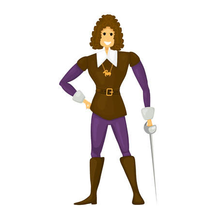 Young cheerful cardboard prince on a white background. Young prince with a sword in  boots. Abstract vector illustration Illustration