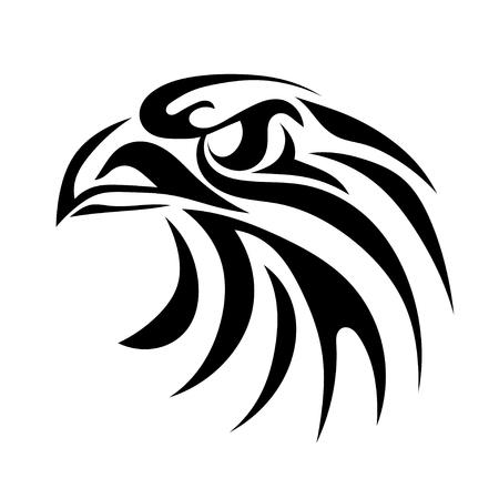 Zwart grafisch beeld van een adelaarshoofd op een witte achtergrond. Abstracte vogel met een bek. Vector illustratie Stock Illustratie
