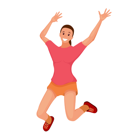 Merry laughing jumping young girl. Flat style joyful girl on a white background. Vector  illustration